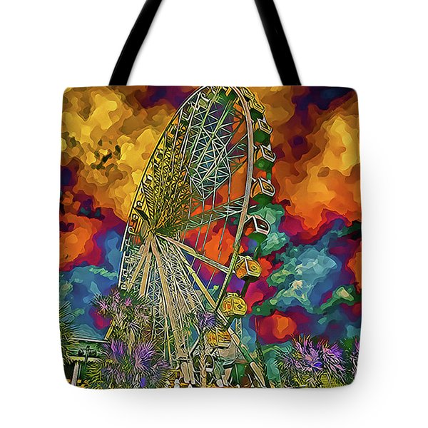 Tote Bag featuring the photograph Myrtle Beach Skywheel Abstract by Bill Barber