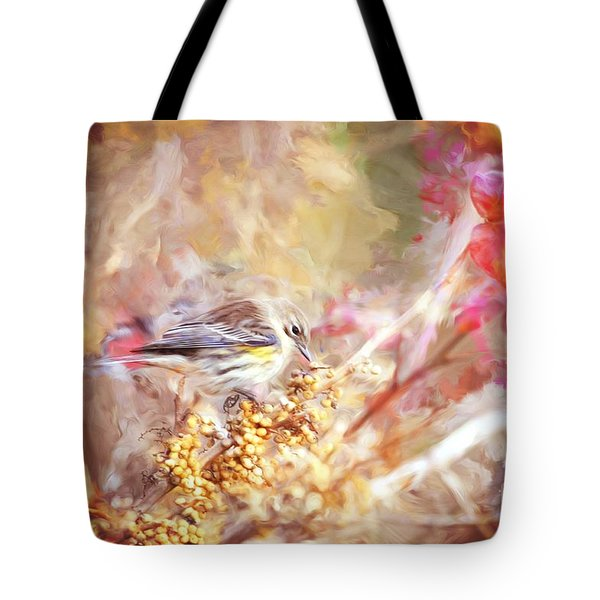 Myrtle Warbler Five Tote Bag by Suzanne Handel