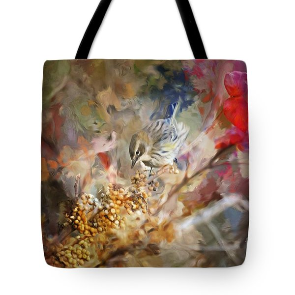 Myrtle Warbler Four Tote Bag by Suzanne Handel