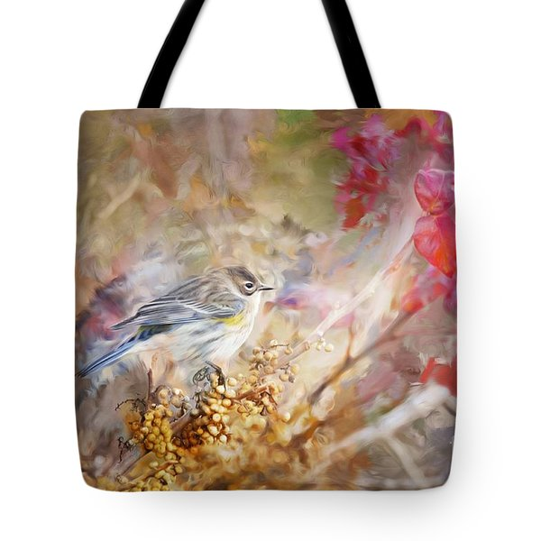 Myrtle Warbler Three Tote Bag by Suzanne Handel