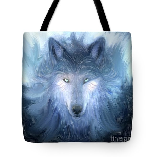 Mysterious Wolf Hand Painted Tote Bag by Heinz G Mielke