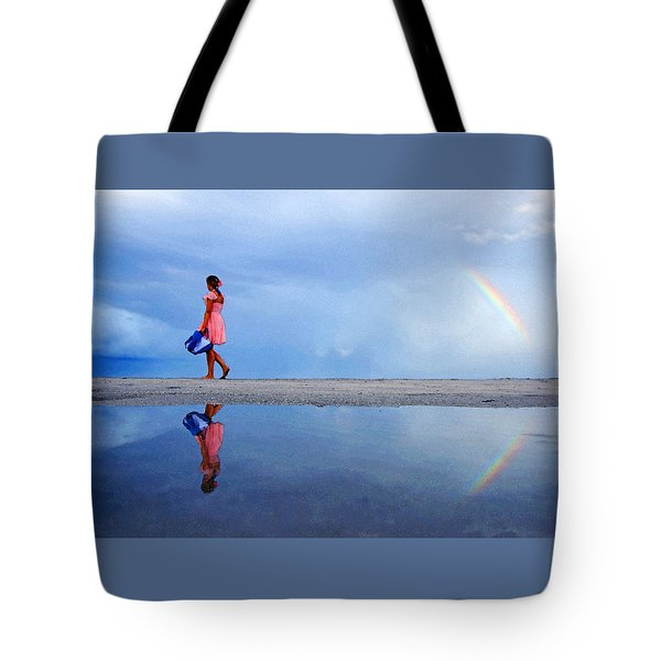 Mysterious Rainbow Girl Tote Bag