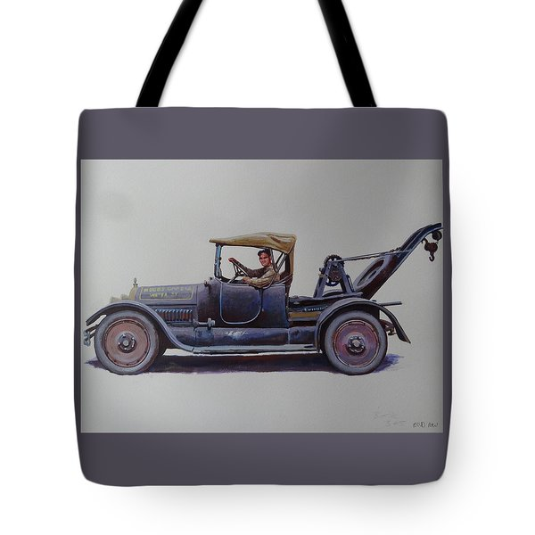 Tote Bag featuring the painting Mystery Wrecker 1930. by Mike  Jeffries