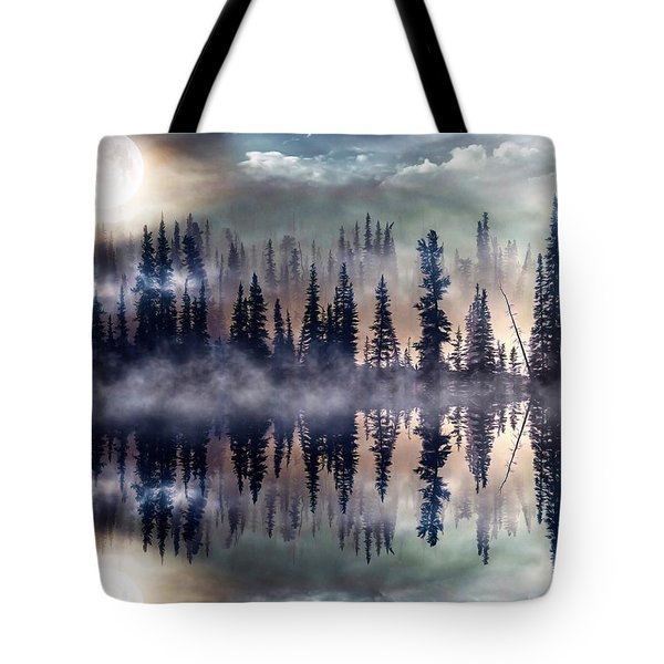 Tote Bag featuring the mixed media Mystic Lake by Gabriella Weninger - David