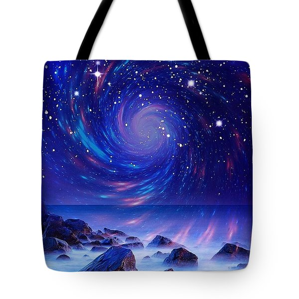 Tote Bag featuring the mixed media Mystic Lights by Gabriella Weninger - David