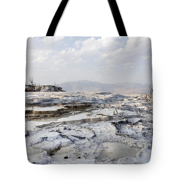 Mystic Scene From The Lower Terrace In Yellowstone National Park Tote Bag