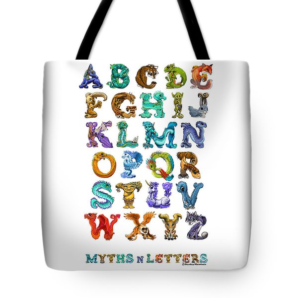 Tote Bag featuring the digital art Myths N Letters by Stanley Morrison
