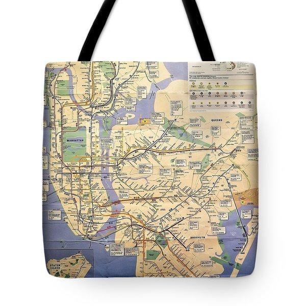 N Y C Subway Map Tote Bag