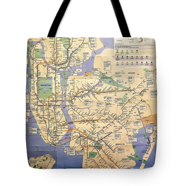 N Y C Subway Map Tote Bag