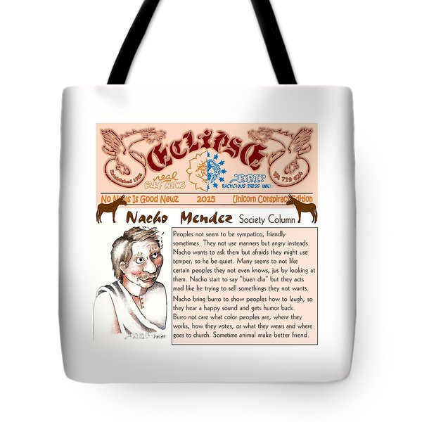 Tote Bag featuring the drawing Real Fake News Society Column 2 by Dawn Sperry