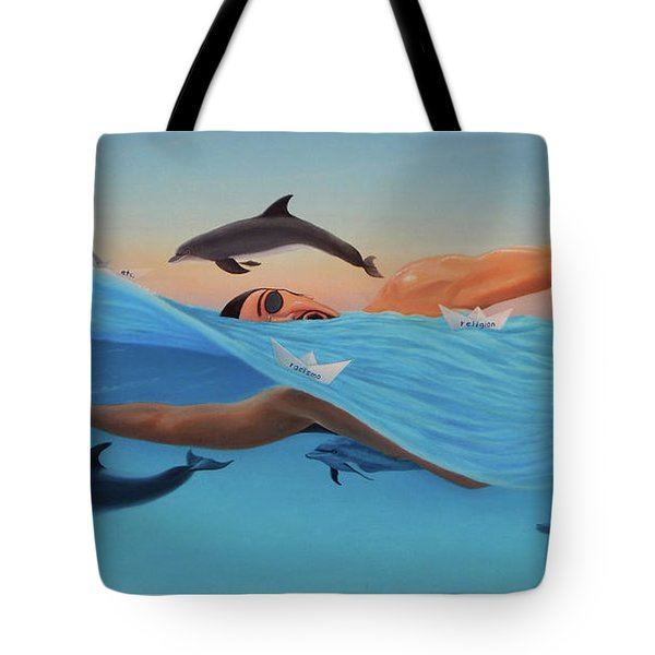 Nadando Contra Corriente Tote Bag