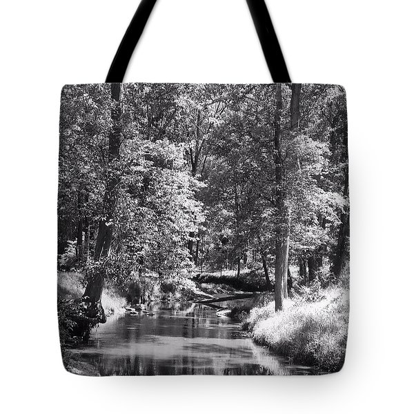 Tote Bag featuring the photograph Nadine's Creek In Black And White by Kathy Kelly