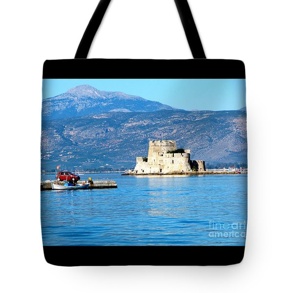Tote Bag featuring the photograph Naflion Greece Harbor Fortress by Phyllis Kaltenbach