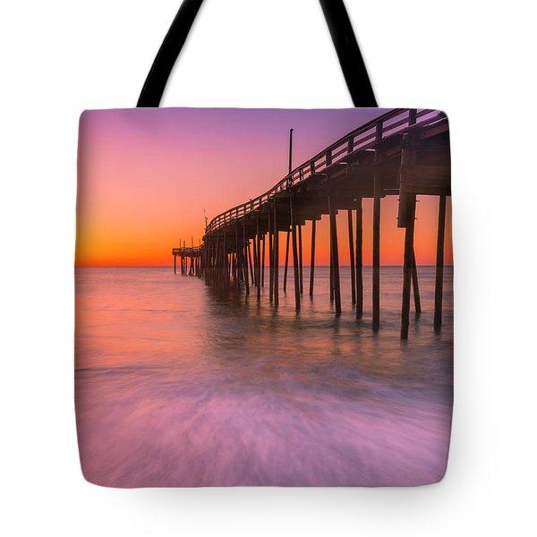 Nags Head Avon Fishing Pier At Sunrise Tote Bag