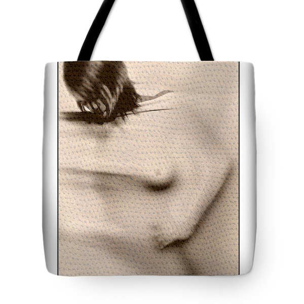 Naked Girl Behind Stretchy Fabric Tote Bag