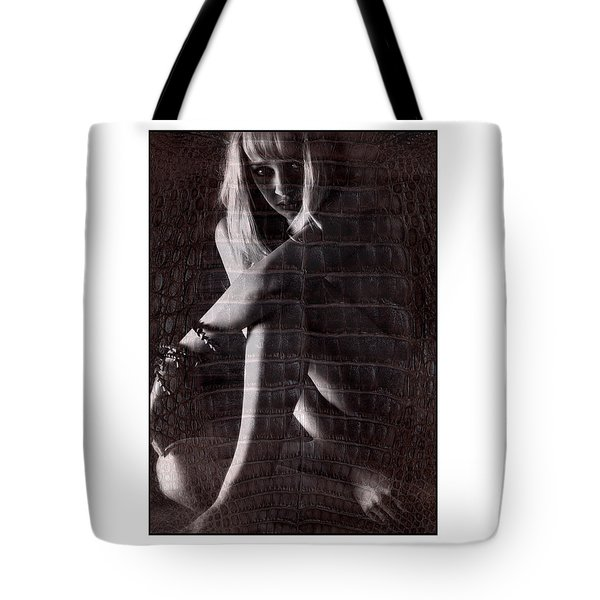 Naked Girl Hiding Tote Bag