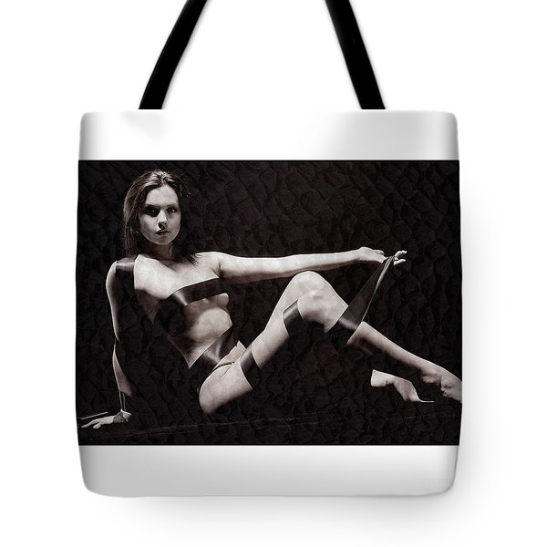 Naked Girl With Tape Around Her Tote Bag