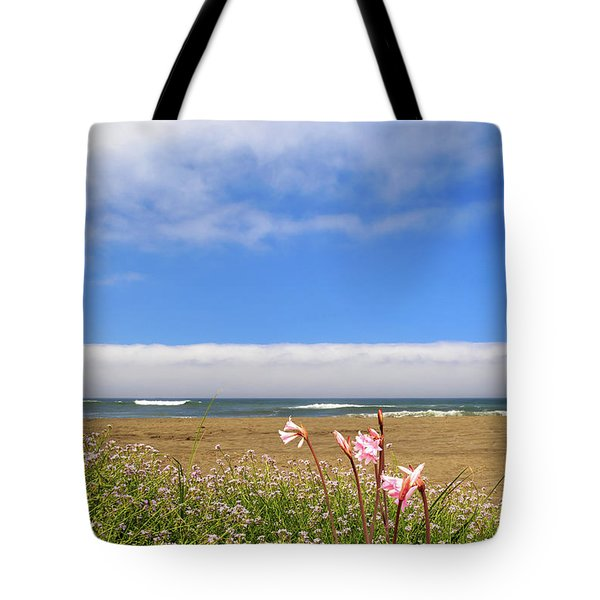 Tote Bag featuring the photograph Naked Ladies At The Beach by James Eddy