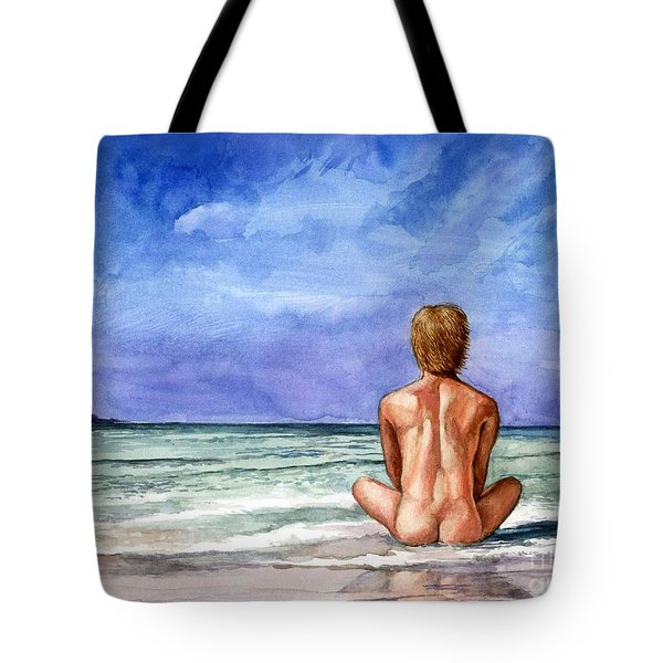 Naked Male Sleepy Ocean Tote Bag