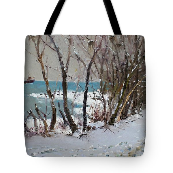 Naked Trees By The Lake Shore Tote Bag by Ylli Haruni