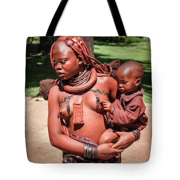 Tote Bag featuring the photograph Nama Native And Child In Namibia by Gregory Daley  PPSA