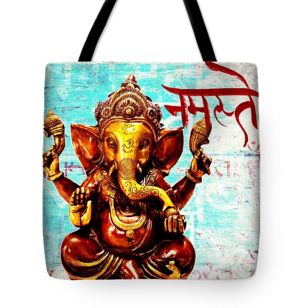 Tote Bag featuring the mixed media Namaste Bhagavaan Ganesh by Lita Kelley