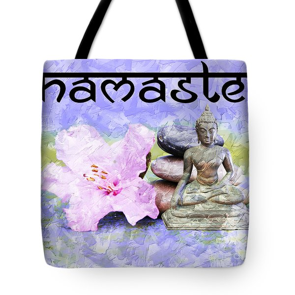 Tote Bag featuring the mixed media Namaste Buddha. V3 by Lita Kelley