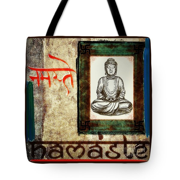 Tote Bag featuring the mixed media Namaste by Lita Kelley