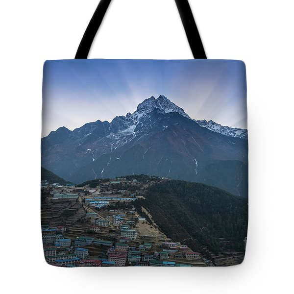 Tote Bag featuring the photograph Namche And Thamserku Peak Morning Sunrays by Mike Reid