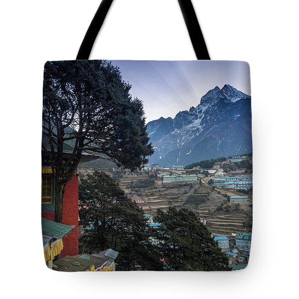 Tote Bag featuring the photograph Namche Monastery Morning Sunrays by Mike Reid