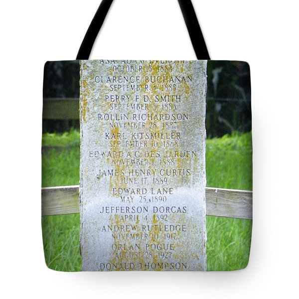 Tote Bag featuring the photograph Name Marker In Youth Cemetery #2 by The GYPSY