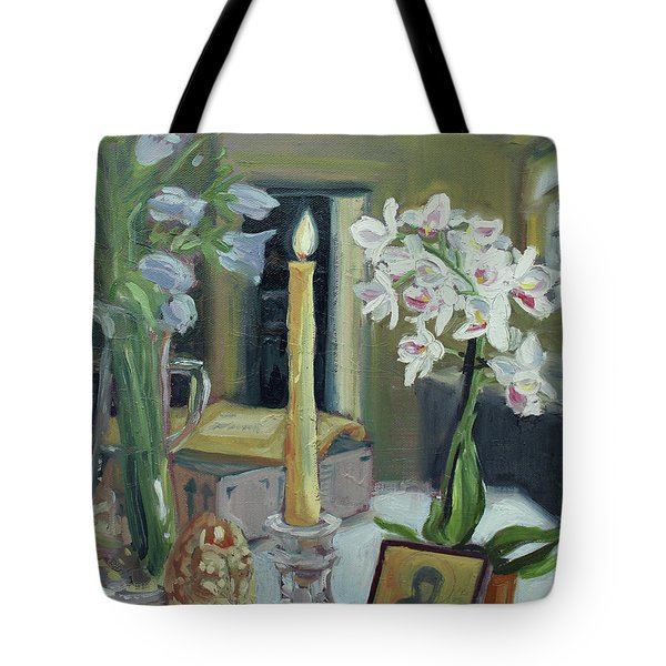 Nameday Table Tote Bag by Laura Wilson