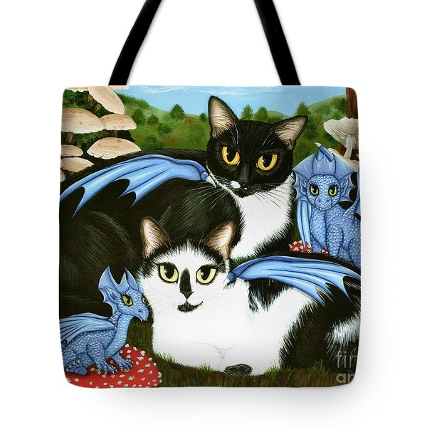 Nami And Rookia's Dragons - Tuxedo Cats Tote Bag