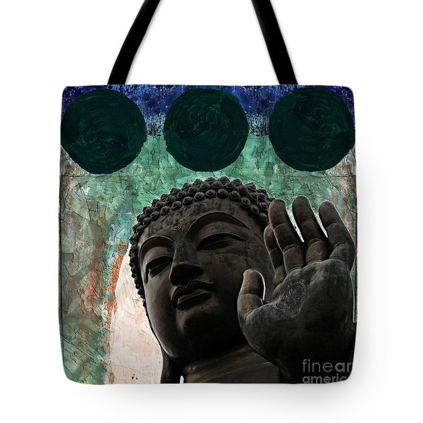 Tote Bag featuring the painting Namo Buddhaya by Lita Kelley