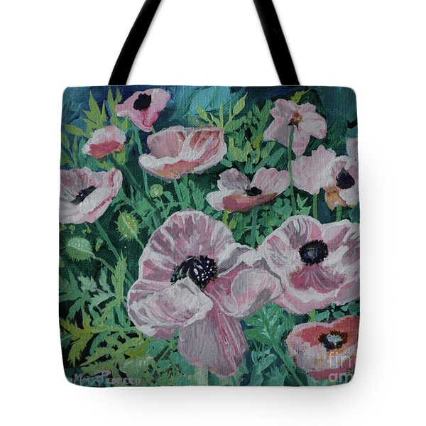 Tote Bag featuring the painting Nancy's Poppies by Robin Maria Pedrero