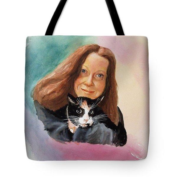 Nandi And Her Cat Tote Bag by Charles Hetenyi