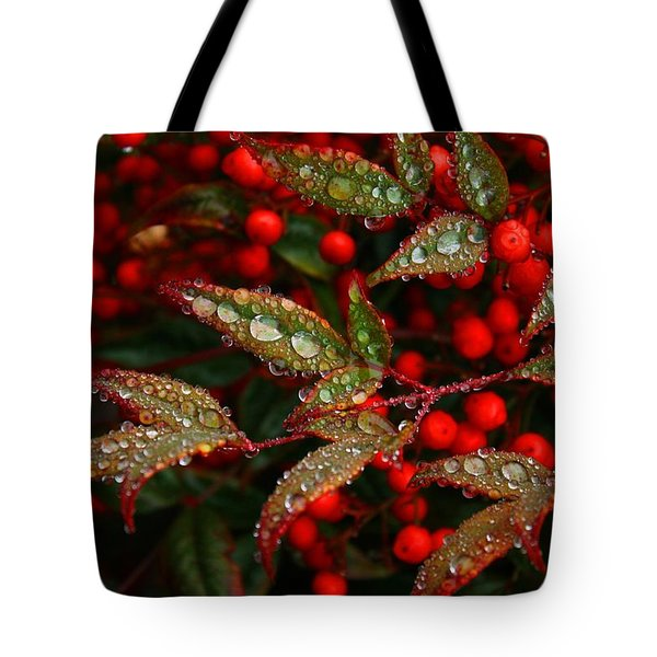 Nandinas In The Rain Tote Bag