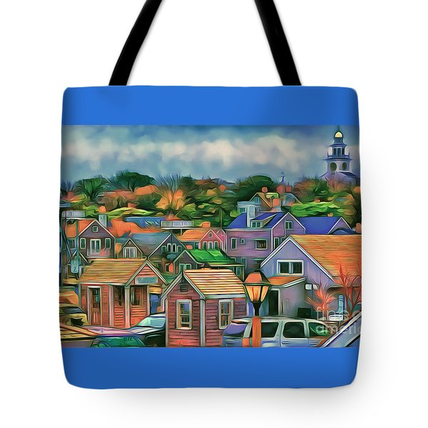 Nantucket Nestles Around The Port Tote Bag by Jack Torcello