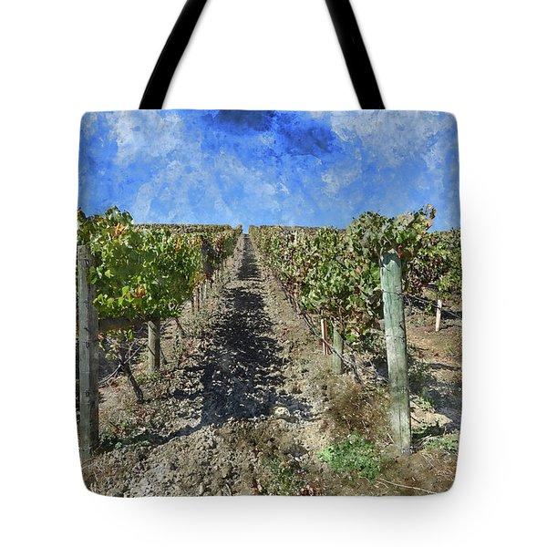 Napa Valley Vineyard - Rows Of Grapes Tote Bag
