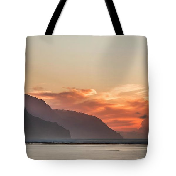 Napali Coast Kauai Hawaii Panoramic Sunset Tote Bag