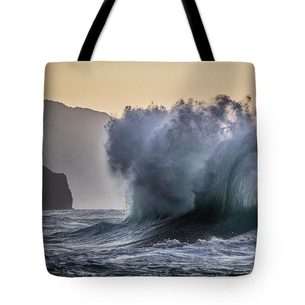Napali Coast Kauai Wave Explosion Tote Bag