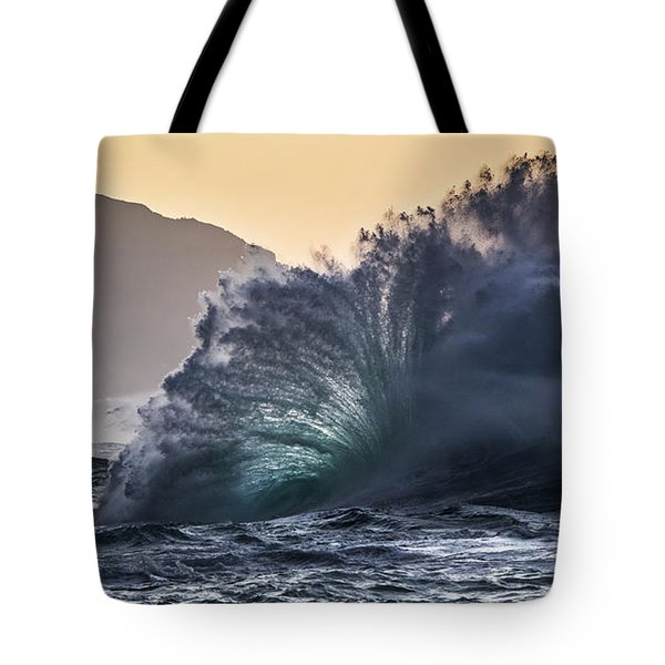 Napali Coast Kauai Wave Explosion Hawaii Tote Bag