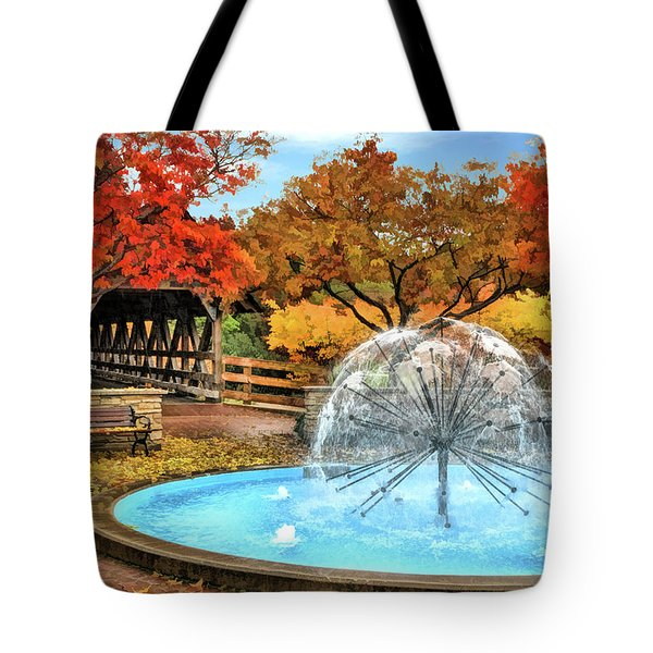 Tote Bag featuring the painting Naperville Dandelion Fountain by Christopher Arndt