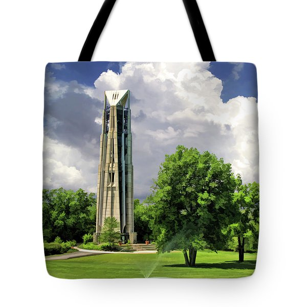Tote Bag featuring the painting Naperville Millennium Carillon by Christopher Arndt