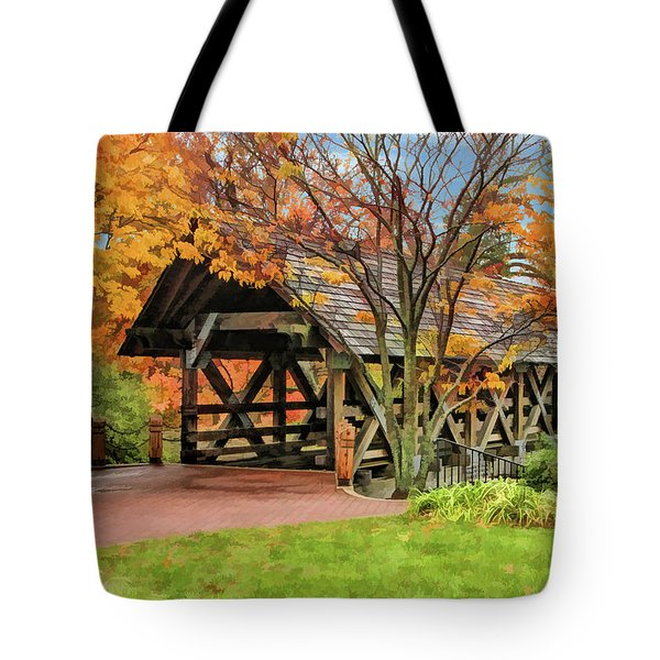 Tote Bag featuring the painting Naperville Riverwalk Covered Bridge by Christopher Arndt
