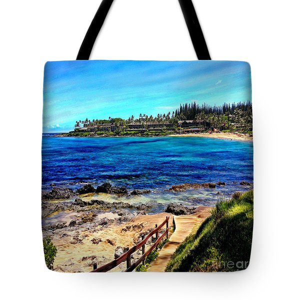 Napili Beach Gazebo Walkway Shower Curtain Size Tote Bag