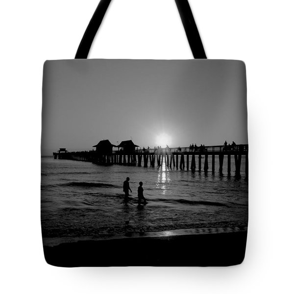 Naples Florida Pier Sunset Tote Bag