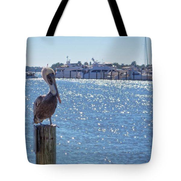Tote Bag featuring the photograph Naples Pelican by Lars Lentz