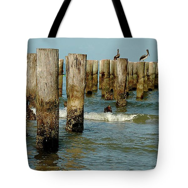 Naples Pier And Pelicans Tote Bag