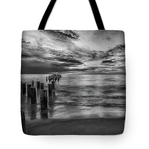 Naples Sunset In Black And White Tote Bag